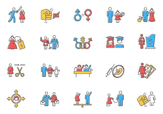 Zestaw Ikon Kolorów Równości Płci Premium Wektorów
