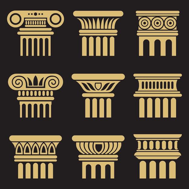 Zestaw ikon kolumna starożytnej architektury Premium Wektorów