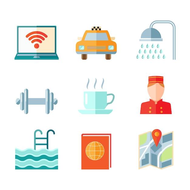 Zestaw ikon komputera hotelowego samochodu prysznic siłownia w stylu płaski kolor Darmowych Wektorów