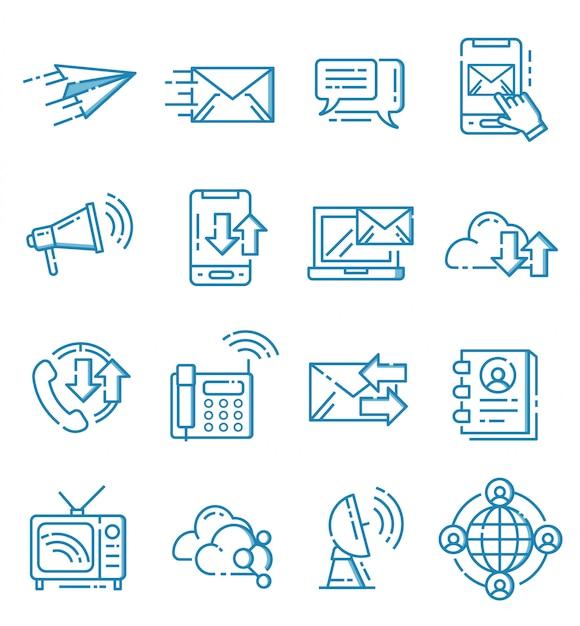 Zestaw Ikon Komunikacji W Stylu Ouline Premium Wektorów