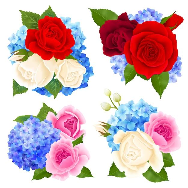 Zestaw ikon koncepcja bukiet róż Darmowych Wektorów
