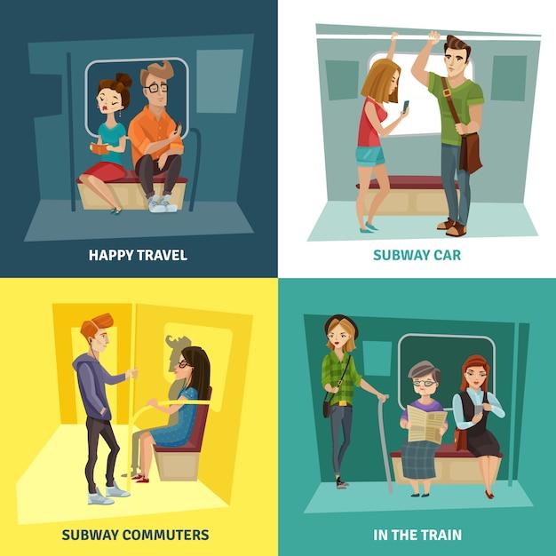 Zestaw ikon koncepcja ludzie metra Darmowych Wektorów