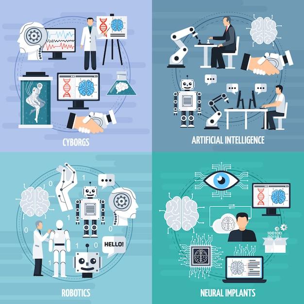 Zestaw Ikon Koncepcja Sztucznej Inteligencji Darmowych Wektorów