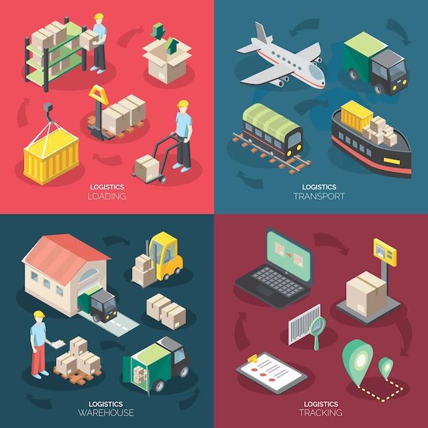 Zestaw ikon koncepcji logistyki Darmowych Wektorów