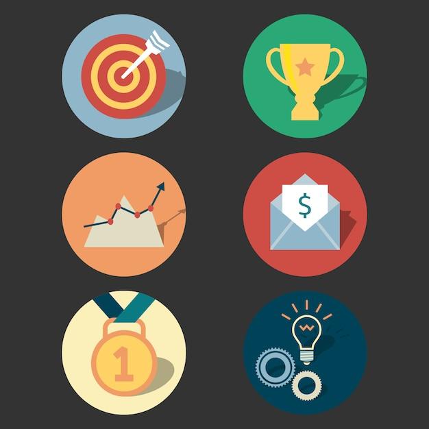 Zestaw ikon koncepcji sukcesu Darmowych Wektorów