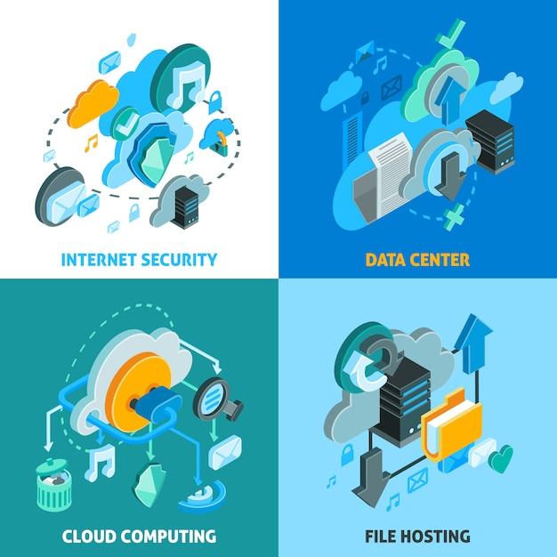 Zestaw ikon koncepcji usług w chmurze Darmowych Wektorów
