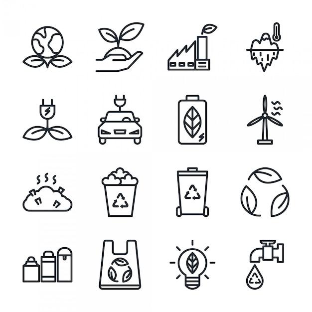 Zestaw ikon kontur eco, ikona recyklingu energii Premium Wektorów