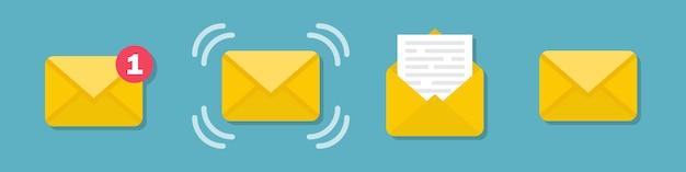 Zestaw Ikon Koperty Wiadomości E-mail W Płaska Konstrukcja Premium Wektorów