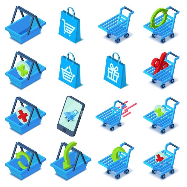 Zestaw Ikon Koszyka Na Zakupy. Izometryczna Ilustracja 16 Wózek Na Zakupy Wektorowych Ikon Dla Sieci Premium Wektorów
