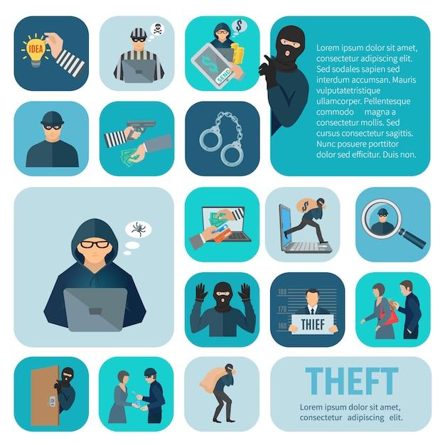 Zestaw Ikon Kradzieży I Kradzieży Premium Wektorów