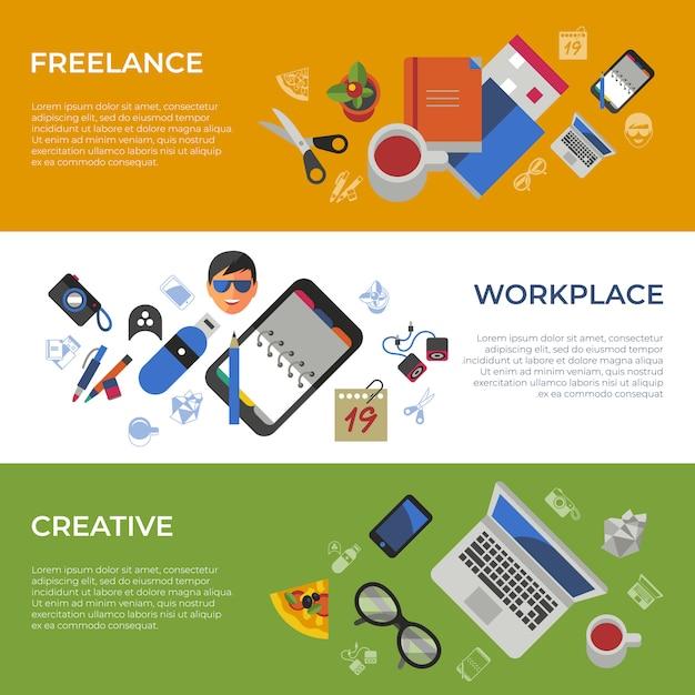 Zestaw ikon kreatywnych pracy freelance Premium Wektorów