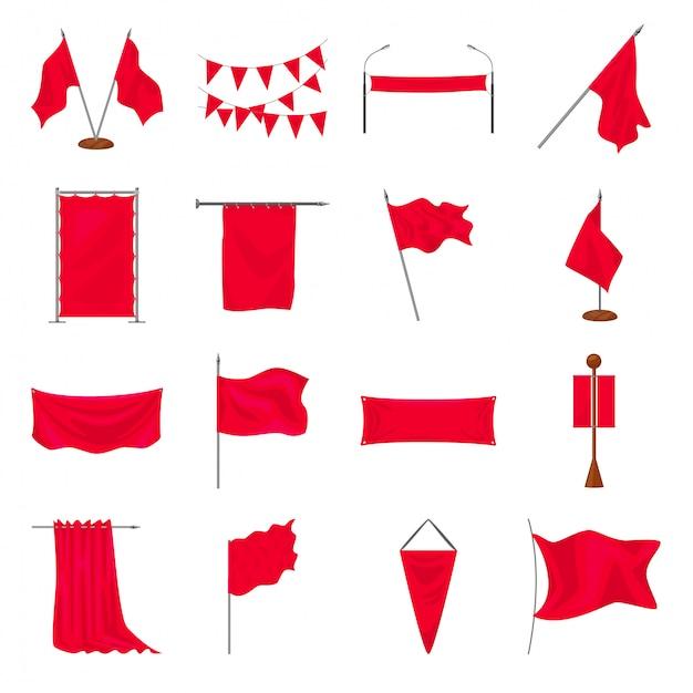 Zestaw Ikon Kreskówka Flaga Premium Wektorów