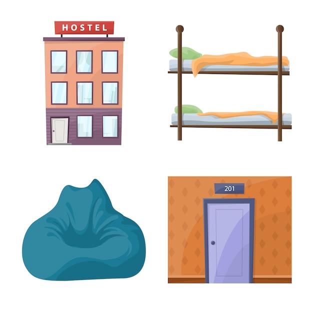 Zestaw Ikon Kreskówka Hostel I Usługi. Premium Wektorów