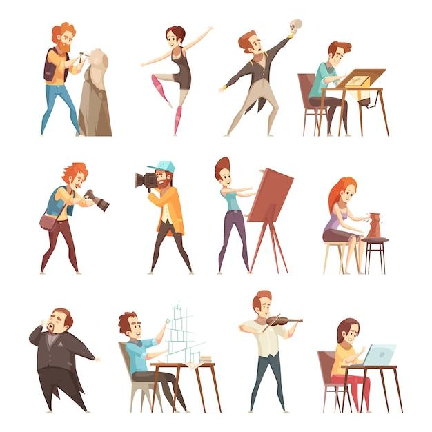 Zestaw ikon kreskówka kreatywnych zawodów Darmowych Wektorów