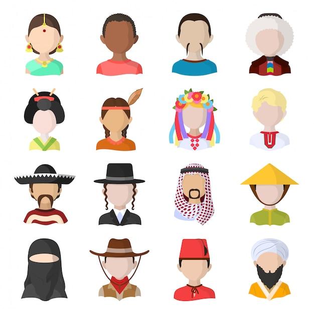 Zestaw Ikon Kreskówka Ludzie Premium Wektorów