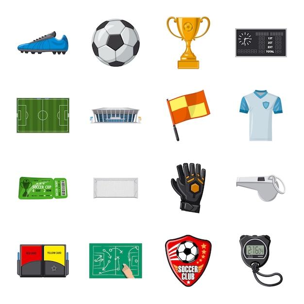 Zestaw ikon kreskówka piłka nożna, sport piłka nożna. Premium Wektorów