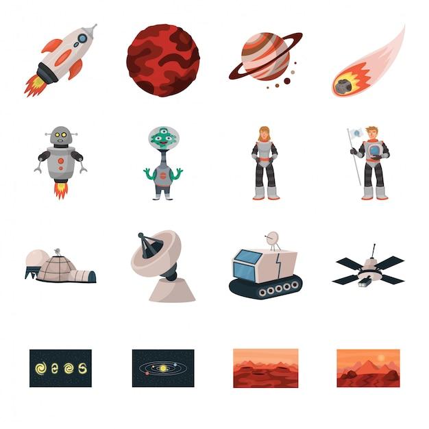 Zestaw Ikon Kreskówka Planety Kosmicznej Premium Wektorów