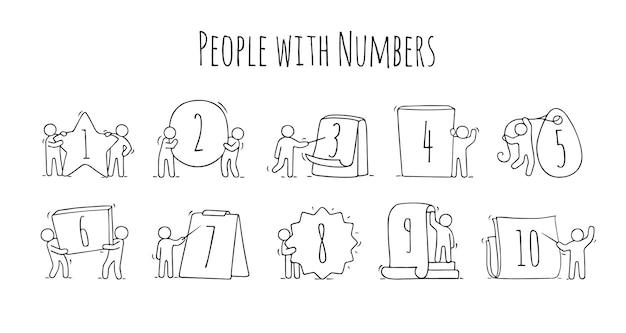 Zestaw Ikon Kreskówka Szkicu Małych Ludzi Z Numerami. Doodle Uroczych Pracowników Ze Znakami W Różnych Formach. Wyciągnąć Rękę Premium Wektorów