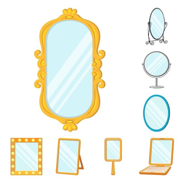 Zestaw Ikon Kreskówka Szkło Lustro. Ilustracja Na Białym Tle Meble Do Makijażu. Zestaw Ikon Lustro Toalety. Premium Wektorów