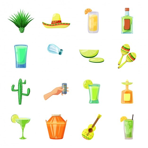 Zestaw Ikon Kreskówka Tequila Premium Wektorów
