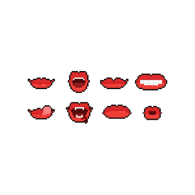 Zestaw Ikon Kreskówka Usta Sztuki Pikseli. Premium Wektorów