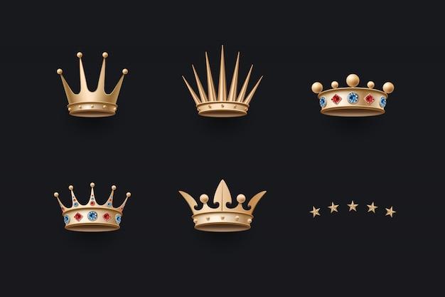 Zestaw ikon królewskiej złotej korony i pięciu gwiazdek Premium Wektorów