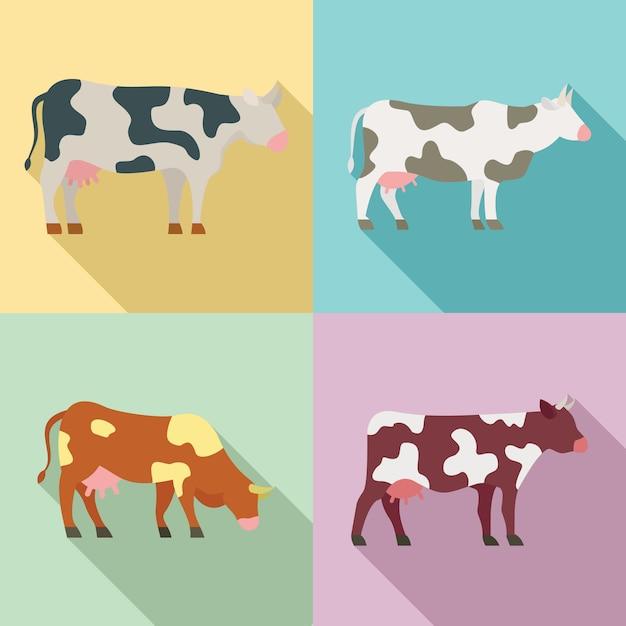 Zestaw ikon krowy, płaski Premium Wektorów