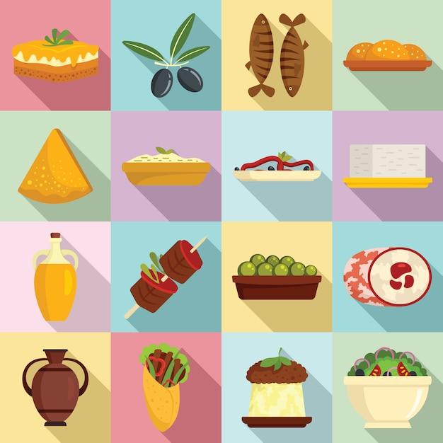 Zestaw Ikon Kuchni Greckiej, Płaski Premium Wektorów