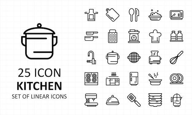 Zestaw Ikon Kuchni Liniowy Premium Wektorów