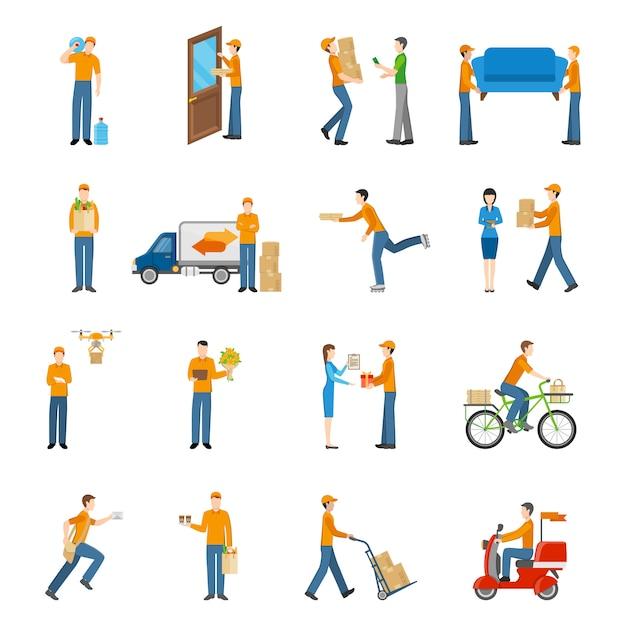 Zestaw ikon kurierów dostawy ludzi Darmowych Wektorów