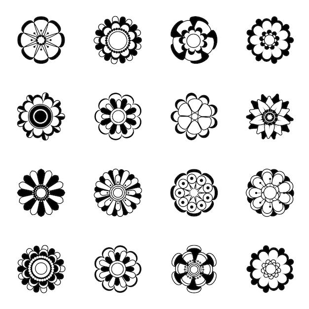 Zestaw Ikon Kwiatowy Monochromatyczne. Ilustracje Czarne Kwiaty Izolują. Czarna Sylwetka Kwiatowa Kolekcja Roślin Monochromatycznych Premium Wektorów