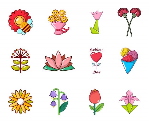 Zestaw Ikon Kwiatowych. Kreskówka Zestaw Ikon Kwiat Wektor Zestaw Na Białym Tle Premium Wektorów