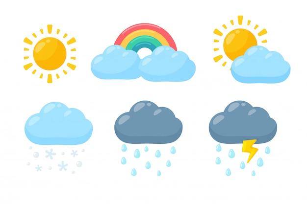 Zestaw Ikon ładny Pogody. Prognoza Pogody Ikona Na Białym Tle. Premium Wektorów