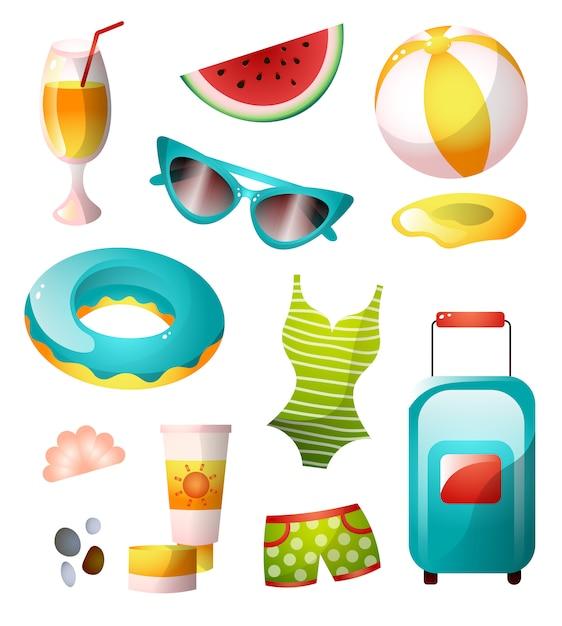 Zestaw Ikon Lato, Kolorowa, Słoneczna Plaża Premium Wektorów