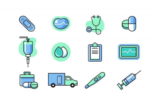Zestaw Ikon Lekarza Premium Wektorów
