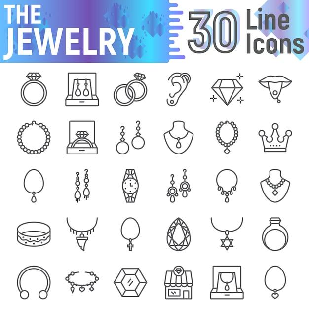 Zestaw Ikon Linii Biżuterii, Kolekcja Symboli Akcesoriów, Premium Wektorów