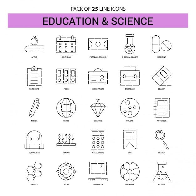 Zestaw ikon linii edukacji i nauki - 25 przerywanych stylów konturu Premium Wektorów