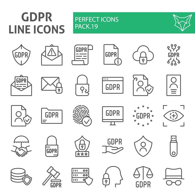 Zestaw Ikon Linii Gdpr, Zbiór Ogólnych Przepisów Dotyczących Ochrony Danych Premium Wektorów