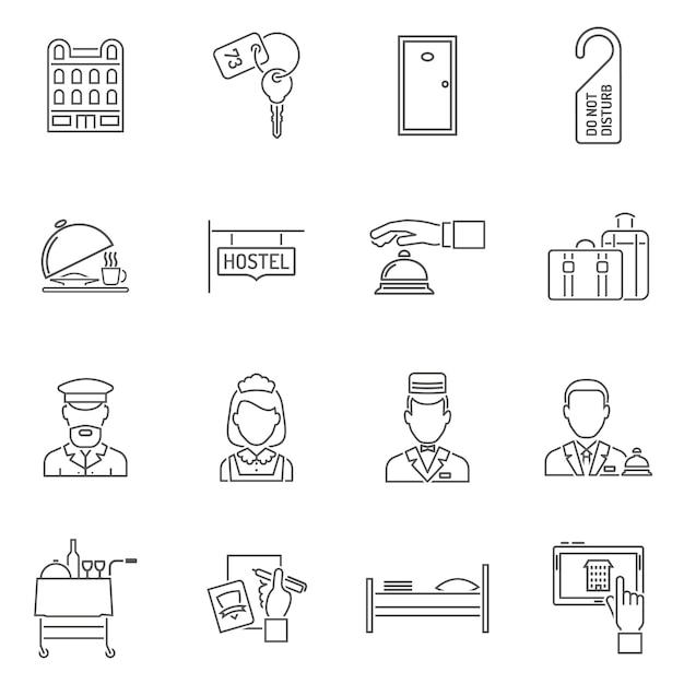 Zestaw ikon linii hotelowych Darmowych Wektorów
