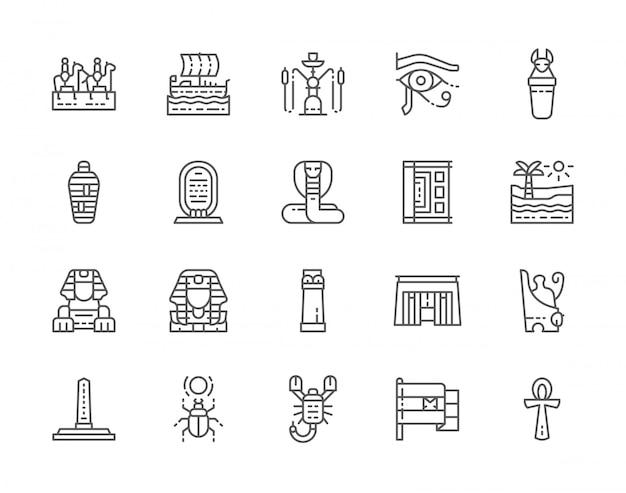 Zestaw Ikon Linii Kultury Egipskiej. Premium Wektorów