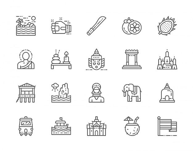 Zestaw Ikon Linii Kultury Tajlandii. Premium Wektorów