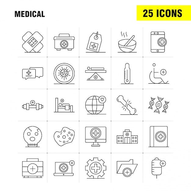 Zestaw ikon linii medycznej dla infografiki, zestaw mobile ux / ui Premium Wektorów
