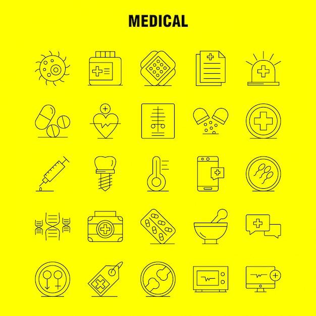 Zestaw Ikon Linii Medycznych Premium Wektorów