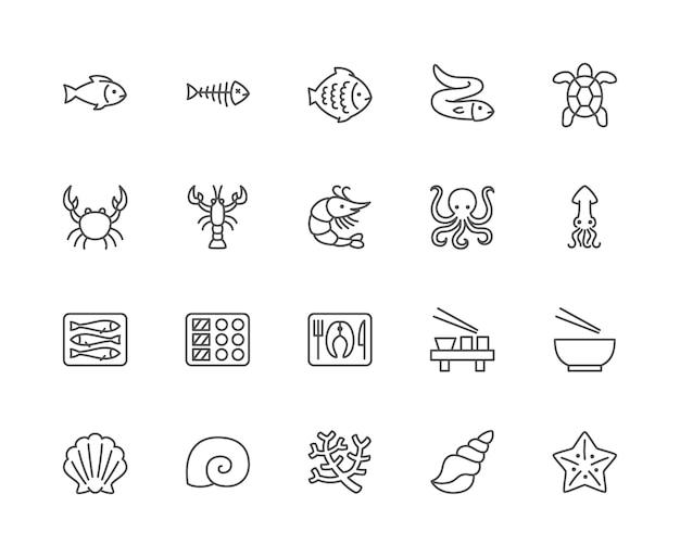 Zestaw ikon linii owoce morza. ryba, ryba, flądra, węgorz, żółw, krab i więcej. Premium Wektorów