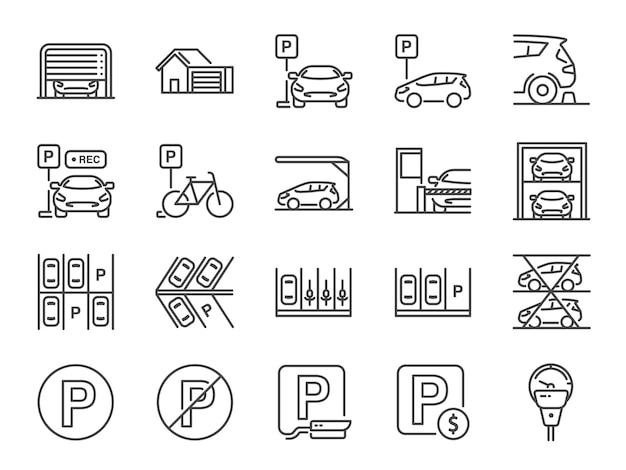 Zestaw ikon linii parkowania. Premium Wektorów