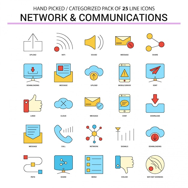 Zestaw ikon linii płaskiej sieci i komunikacji Premium Wektorów