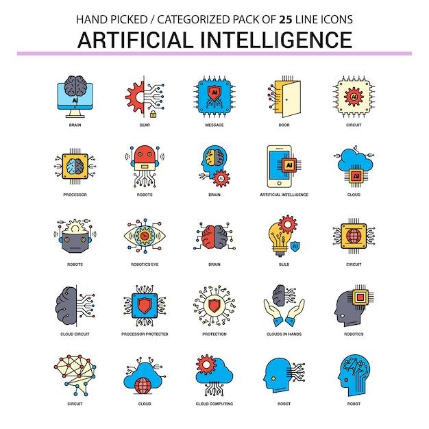 Zestaw Ikon Linii Płaskiej Sztucznej Inteligencji Premium Wektorów