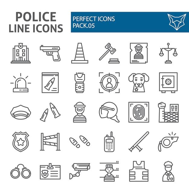 Zestaw Ikon Linii Policji, Kolekcja Bezpieczeństwa Premium Wektorów