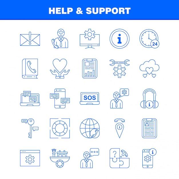 Zestaw ikon linii pomocy i wsparcia Premium Wektorów