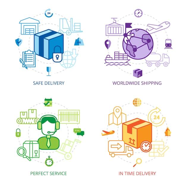 Zestaw Ikon Linii Projektowej Logistyki Premium Wektorów